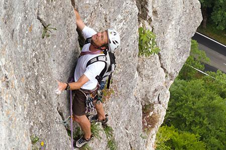 Rainer im Ebinger Turm Weg (6+, 5 SL) Bild: S. Buchwieser