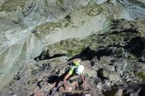1000m Tiefblick vom letzten Standplatz, der Abstieg …