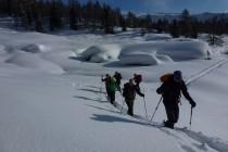 Nachdem wir am Montag den Colbricon Piccolo 2511m bei durchwachsenem Wetter, aber bestem Pulverschnee geniessen konnten, ging es auf die Cima Iuribrutto 2697m. Meterhohe Schneemassen...