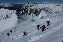 Im steilen Gipfelhang zur Cima Bocche. Ausgangspunkt am Haus Negritella nahe des Passo Pellegrino