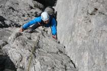 Am ersten Tag kletterten wir die Freccia (5 SL, 4) am 1.Sellaturm und die Kostner – Verschneidung (5 SL, 4, siehe oben) am 2.Sellaturm.