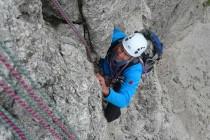 Die schwierigste Seillänge in der Kasnapoff am 2.Sellaturm.
