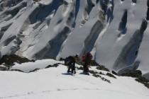 Blick vom Triftijgrat auf den Breithorngletscher.