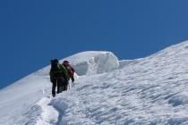 Weissmies: In Gipfelnähe war der Wind unangenehm kalt.