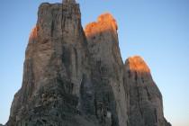 In der Mitte die Große Zinne mit der 500m hohen Nordwand