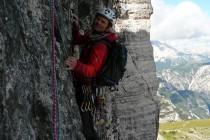 Rainer im Quergang der letzten schwierigen Seillänge
