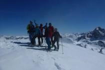 Am Gipfel des Piz Surgonda 3197m, danach hatten wir eine super Abfahrt im Pulverschnee.