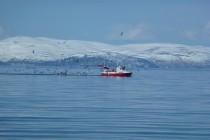 Fischerboot während der Fahrt zur Insel Kagen.