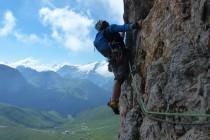 """Schwierige Querung in der Route """"Guglia della Liberta"""" (6+) an der Grohmannspitze."""