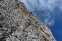 Eine sehr schöne Tour mit 14 Seillängen, teils etwas splittriger Fels.