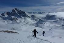 Der Blick reichte heute bis zum Bergell, Monte Disgrazia, Piz Roseg, Piz Bernina (mi.), Ortler, Zebru und Königspitze
