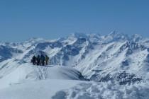 Im Hintergrund Piz Palü und Piz Bernina