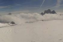 v.l.: Croda di Lago, Gipfelpyramide des Antelao, Monte Pelmo und Civetta.